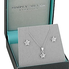 Simply Silver - Sterling silver pave star pendant and matching earring set