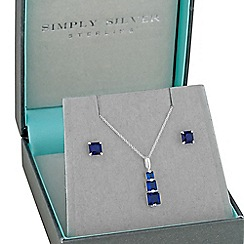 Simply Silver - Sterling silver graduated blue cubic zirconia necklace and earring set