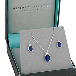 Simply Silver - Blue oval cubic zirconia pendant necklace and matching earring set