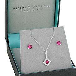 Simply Silver - Sterling silver square cubic zirconia pendant and earring set