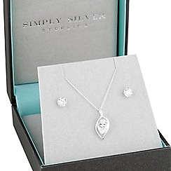 Simply Silver - Sterling silver cubic zirconia petal pendant and earring set