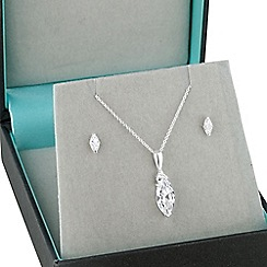 Simply Silver - Sterling silver navette cubic zirconia necklace and earring set