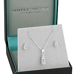 Simply Silver - Sterling silver aurora borealis pave teardrop necklace and earring set