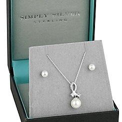Simply Silver - Sterling silver pearl twist necklace and earring set