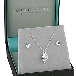 Simply Silver - Sterling silver oval cubic zirconia pendant and earring set