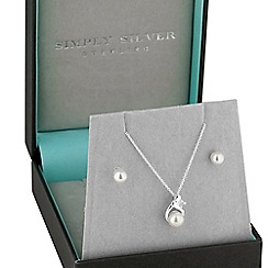 Simply Silver - Sterling silver pearl and necklace and earring set