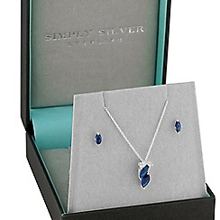 Simply Silver - Sterling silver blue navette jewellery set
