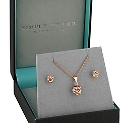 Simply Silver - Rose gold plated sterling silver jewellery set