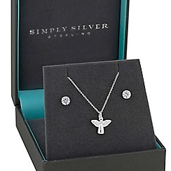 Simply Silver - Sterling silver angel jewellery set