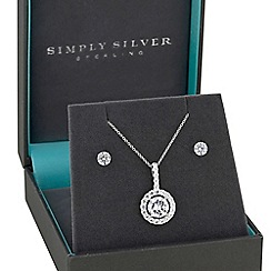 Simply Silver - Sterling silver halo jewellery set
