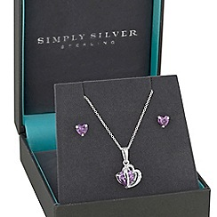 Simply Silver - Simply Silver Sterling silver purple heart jewellery set