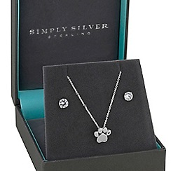 Simply Silver - Sterling silver paw print jewellery set