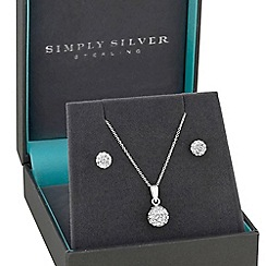 Simply Silver - Sterling silver pave ball jewellery set