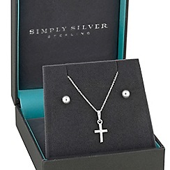 Simply Silver - Sterling silver cross jewellery set