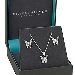Simply Silver - Sterling silver childrens butterfly jewellery set