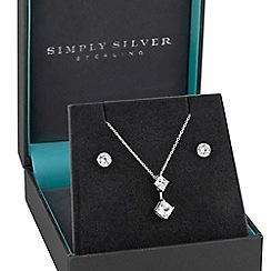 Simply Silver - Sterling silver square drop jewellery set in a gift box