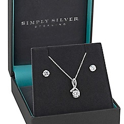 Simply Silver - Sterling silver cubic zirconia twist jewellery set in a gift box