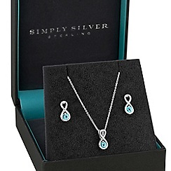 Simply Silver - Sterling silver aqua infinity jewellery set