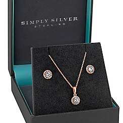 Simply Silver - Sterling silver halo jewellery set in a gift box