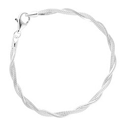 Simply Silver - Sterling silver twisted mesh and mirror chain bracelet