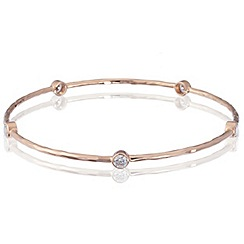 Simply Silver - Sterling silver rose gold cubic zirconia bangle