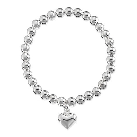 Simply Silver - Sterling silver bead heart charm bracelet
