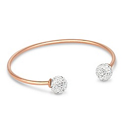 Simply Silver - Rose gold crystal ball cuff bracelet