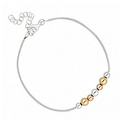 Simply Silver - Sterling silver 3 tone polished ball bracelet