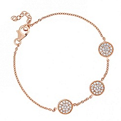Simply Silver - Sterling silver rose gold triple pave disc bracelet