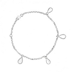 Simply Silver - Polished sterling silver peardrop charm bracelet
