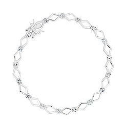 Simply Silver - Sterling silver kite and cubic zirconia station bracelet