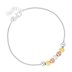 Simply Silver - Sterling silver 3 tone beaded bracelet