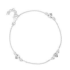 Simply Silver - Sterling silver cubic zirconia heart bracelet