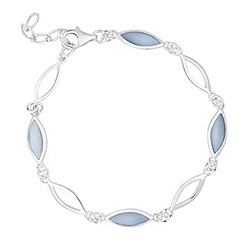 Simply Silver - Sterling silver blue mother of pearl bracelet