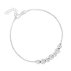 Simply Silver - Sterling silver pave crystal ball beaded bracelet