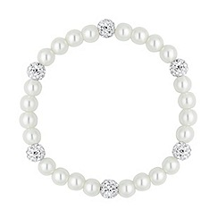Simply Silver - Pave crystal ball pearl stretch bracelet