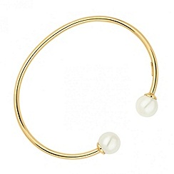 Simply Silver - Sterling silver polished gold pearl cuff