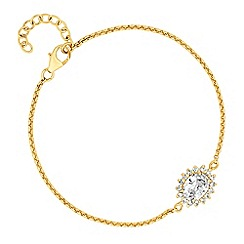 Simply Silver - Gold plated sterling silver cubic zirconia cluster delicate bracelet