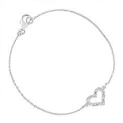Simply Silver - Sterling silver cubic zirconia heart link bracelet