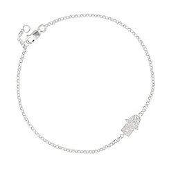 Simply Silver - Sterling silver cubic zirconia hamsa hand bracelet