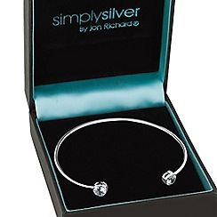Simply Silver - Sterling silver round cubic zirconia set cuff