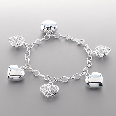 Sterling Silver Filigree Heart Bracelet - Sterling silver - Bracelets - Jewellery & jewellery boxes - Womens - Debenhams