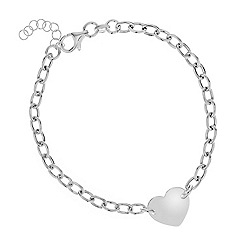 Simply Silver - Sterling silver polished heart id style bracelet