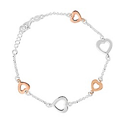 Simply Silver - Sterling silver two tone polished heart bracelet