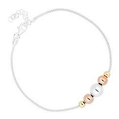 Simply Silver - Sterling silver three tone ball mesh bracelet