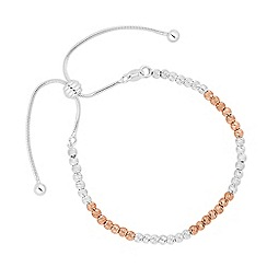 Simply Silver - Sterling silver two tone textured ball toggle bracelet