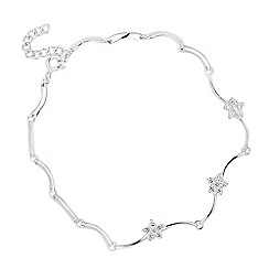 Simply Silver - Sterling silver cubic zirconia floral wave bracelet