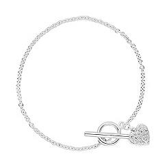 Simply Silver - Sterling silver cubic zirconia heart t-bar bracelet