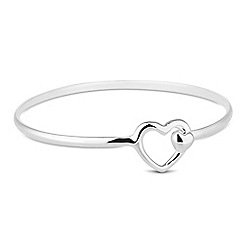 Simply Silver - Sterling silver heart and mini heart catch bangle