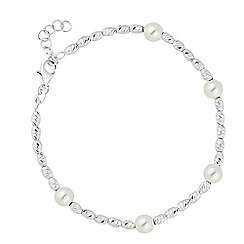 Simply Silver - Sterling silver cream pearl and textured bead bracelet